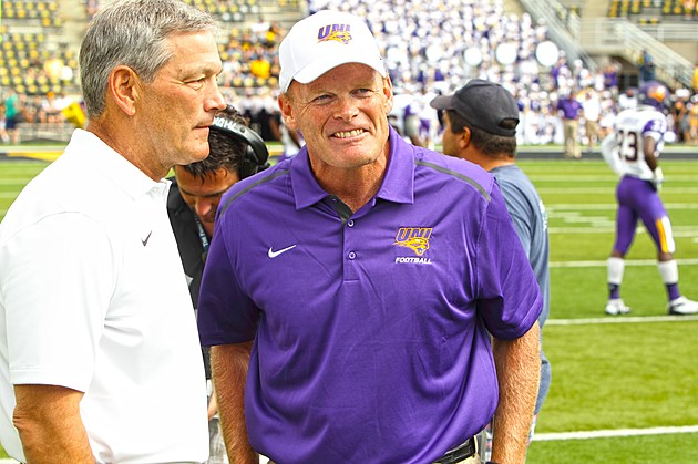Iowa Head Coach Kirk Ferentz & UNI Head Coach Mark Farley (Photo: Roland Ferrie