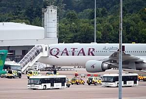 Military Jet Escorts Qatar Airways Plane Into Manchester Airport